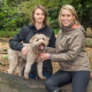 Fleur and Christiana with dog